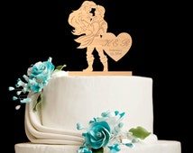 Cake topper,wooden cake topper,little mermaid wedding,little mermaid cake topper,little mermaid,little mermaid wedding cake topper,5362016