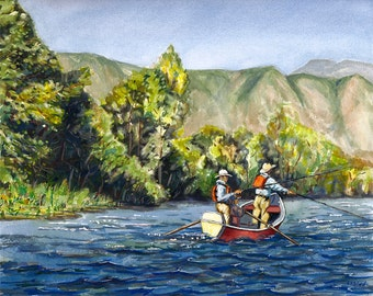 Dory boat fishing on the Roaring Fork