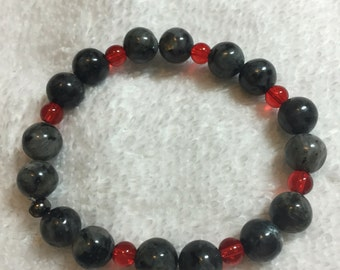 Handmade Black Lava Rock and Red Bead Accents