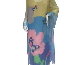 Ethereal Silk Chiffon Butterfly Gown. 1970's.