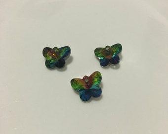 3 x Swarovski Crystal Vitrail butterflies