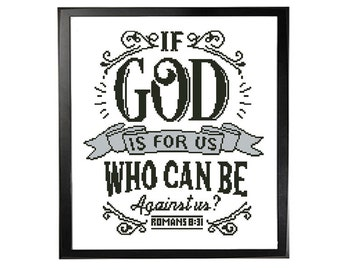 Bible Quote Cross Stitch Pattern, Typography Sign Poster Stitch Sampler, Christian Home Decor