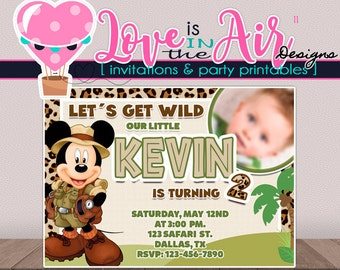 Mickey Mouse Safari Birthday Party Invitation - DIGITAL FILE - PRINTABLE