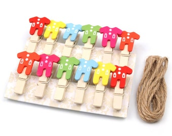 Wooden Pegs  12pcs and Twine