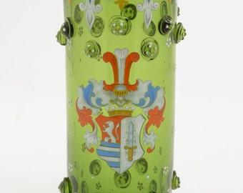 German Green Glass Heraldry Vase, Circa 1900