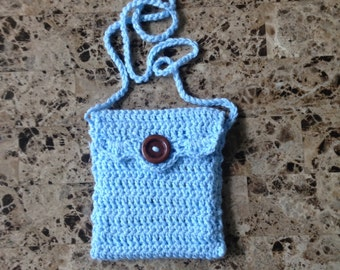 Crochet blue bag purse