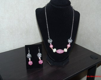 Pink Jewel Necklace (with magnetic clasp) and Earring Set