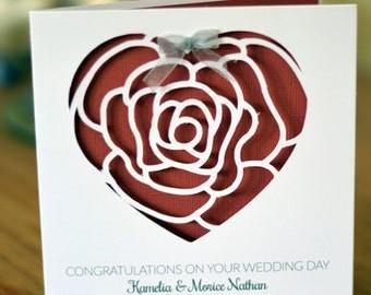 Personalised Rose Heart Wedding / Anniversary / Valentines Card