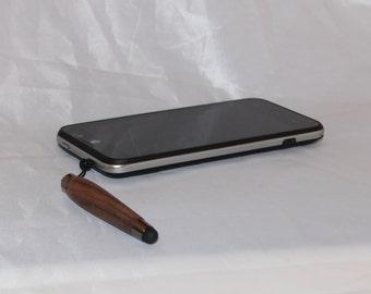 Hand Turned Wood Mini Stylus with Plug and Gun Metal Accents, Mini Smartphone Pen, (Wooden, for Smart Phone, Oak, Cherry, Walnut, Hawthorn)