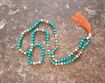 Handmade 108 Turquoise, Coral and Amazonite Bead Mala