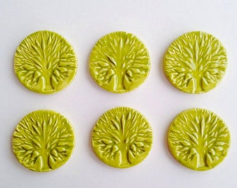 6 x Ceramic 'Tree of Life' Tiles for Mosaics & Mixed Media projects