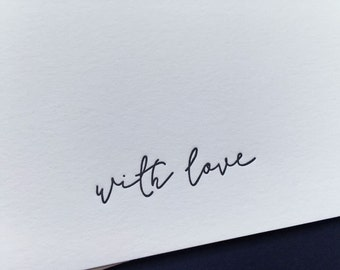 Boxed set of six luxury 'with love' letterpress notecards