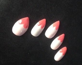 Heart shaped fake nails, stiletto glue on nails