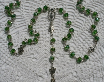 Green Crystal seed beads 8 mm