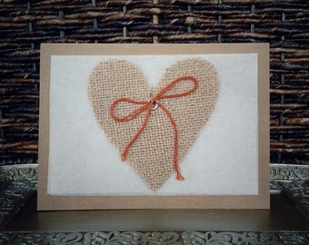 Heart & Bow Cards // Set of 4 // Natural Brown Card Stock // Opaque Cream Paper