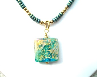 Blue-Green Glass Necklace