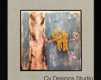 Custom Love Birds in a Birch Tree String Art