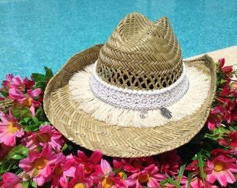 Cowboy hat/Bohemian hat/Sun hats/Custom hats/Summer hat/Beach hats/Cool hats/fashion hats/Straw hats/Women hat/Boho style/hippie chic/peace