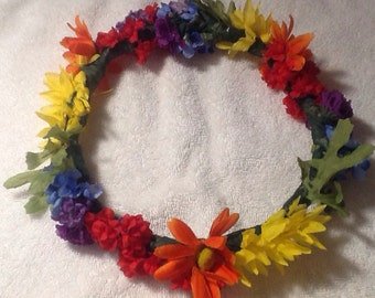 Gay pride flower crown