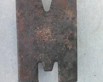 """RUSTIC VINTAGE METAL Letter -M- 10""""  1960's Metal Letter"""