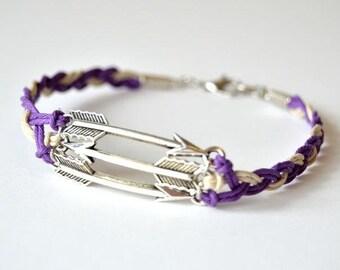 Hawkeye Inspired Braided Arrow Bracelet - Purple and Grey