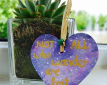 Inspirational Quote - J R R Tolkien Quote - Wood Art - Small Painting - Not All Who Wander Are Lost - Purple, Gold, Sea Green - Bead - Art