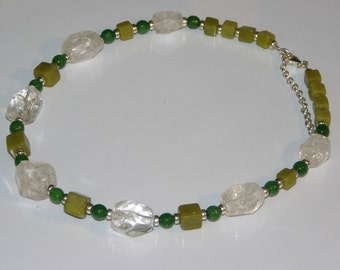 Rock crystal and jade necklace