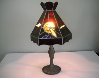 Stained Glass Bird Lamp Ruby Red