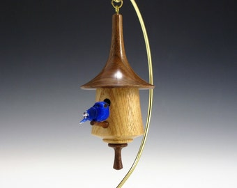 Black Walnut and Ash Miniature Birdhouse Ornament BH173