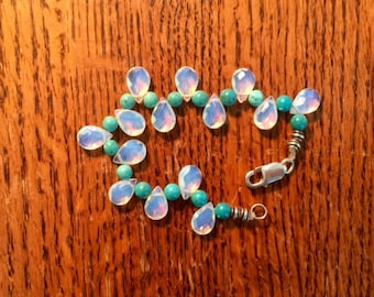 beautiful vintage opalite and turquoise beaded bracelet with sterling closure