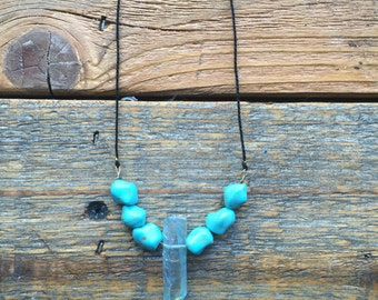 Turquoise and Quartz drop necklace