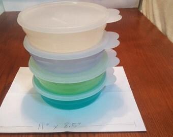 Tupperware Cereal Bowls w/ Lids - Ocean - Set of 4. Tupperware Cereal Bowls