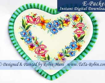 309E E-PACKET Heartfelt Wreath Decorative Painting Pattern Digital - Instant Download