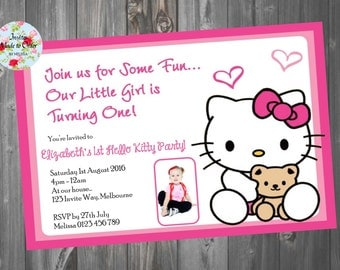 Hello Kitty Pink Birthday Invitation with photo