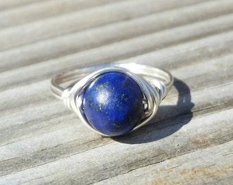 Natural Lapis Lazuli Wire Ring