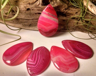 FIVE Hot Pink Agate Crystal Pendant necklace suncatcher charms - 1045, 1065, 1072, 1087, 1097