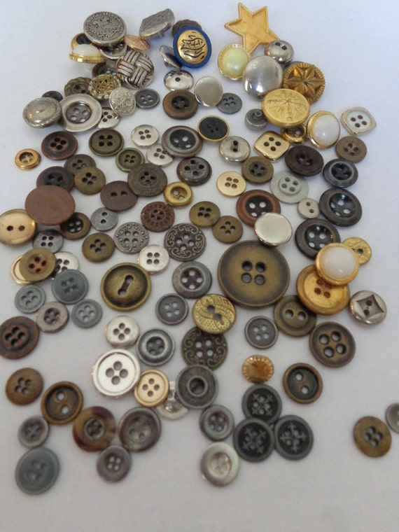 115 vintage metal lot brass metal lot sewing two hole four for Craft buttons for sale