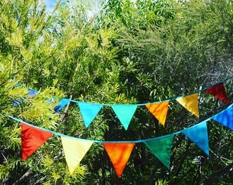 Rainbow bunting - blue or jade ribbon