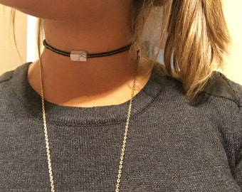 Gunmetal choker with marble stone