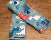 protects-straps, straps covers, baby, auto, shell, stroller, soft, dinosaurs, reversible, minky, cotton, snap buttons