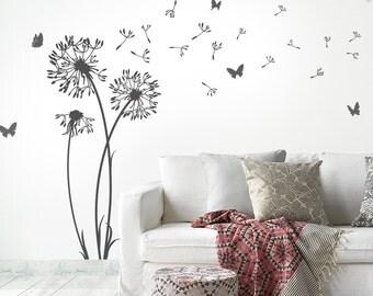 Wall decals dandelion seeds flying butterflies - dandelion wall sticker wall sticker living room - dandelion wall decal vinyl decor w302