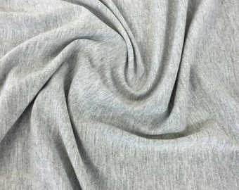 Cotton Lycra Spandex Solid Knit Jersey Fabric by the yard -7 oz (Heather Grey) (S1)