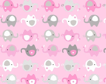 Cute Baby Pink Elephants Fleece Fabric by the Yard