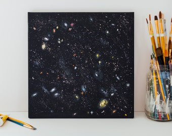 Deep Space from Hubble Telescope, An original acrylic painting on 12x12 canvas