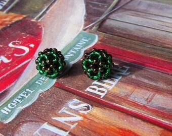 Flower earrings, Green, Brown, Studs