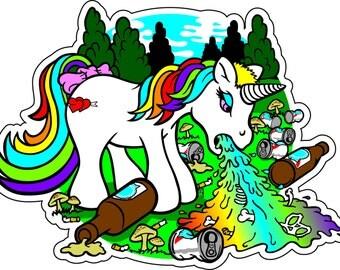puking unicorn sticker