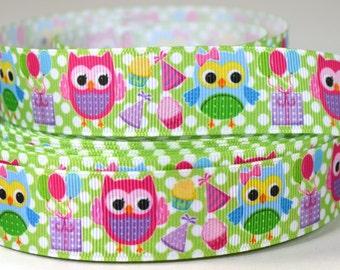 "1"" Party Owls - Grosgrain Ribbon"