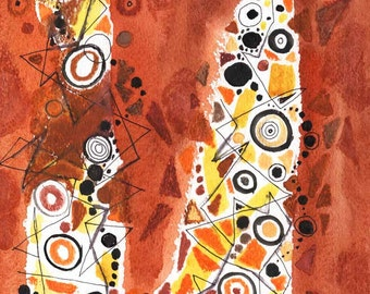 ABSTRACT WATERCOLOR  ORIGINAL 8X8  orange, black, yellow, small watercolor painting, abstract watercolor painting, abstract painting