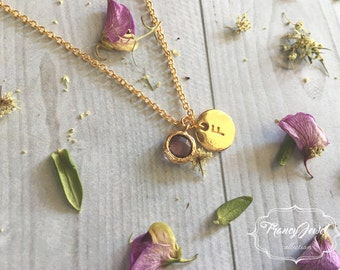 Custom necklace, hand stamped initial necklace and birthstone, 18kt gold plated, personalized jewelry, engraved jewelry, birthday gifts