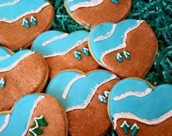 12 Heart shaped beach cookies